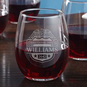 Correctional Officer Badge Engraved Wine Glass Correctional Officer Gift