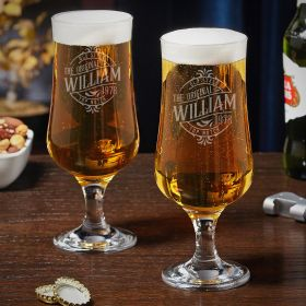 Maddux Personalized Tulip Beer Glasses Set of 2