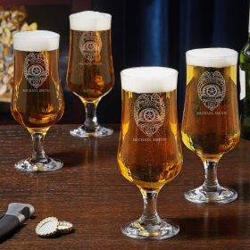 Police Badge Engraved Tulip Beer Glasses Set of 4 Police Gifts
