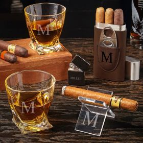 Single Initial Engraved Whiskey and Cigar Gift Set