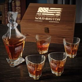 American Heroes Custom Whiskey Decanter Box Set of Military Gifts
