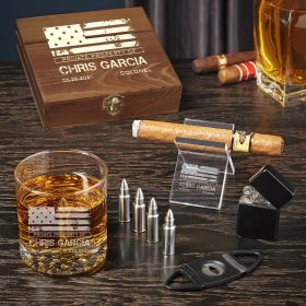 Make My Day American Heroes Custom Cigar Gift Set with Bullet Whiskey Stones