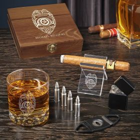 Make My Day Police Badge Personalized Whiskey and Cigar Gifts for Police Officers