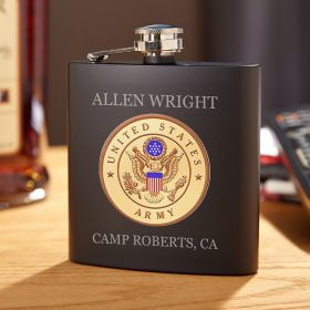 Army Personalized Blackout Flask Army Gift