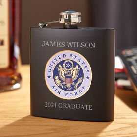 Air Force Crest Engraved Blackout Flask Air Force Gift