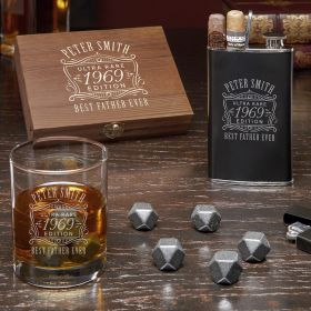 Ultra Rare Edition Custom Black Onyx Whiskey Stones Gift Set