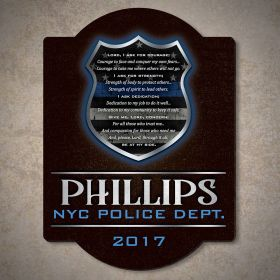 Dedication and Courage Personalized Wood Sign Police Gift