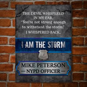 The Storm Personalized Wood Sign Gift for Police Officer