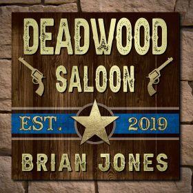 Deadwood Personalized Western Wood Saloon Sign