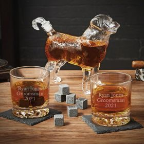 Dog Liquor Decanter Set with Personalized Whiskey Glasses