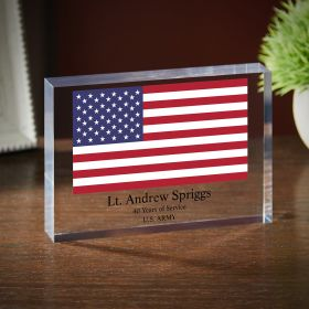 Stars and Stripes Personalized Acrylic Retirement Plaque