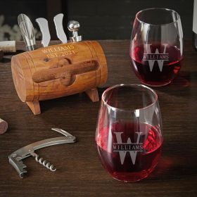 Oakmont Personalized Wine Opener Set with Wine Glasses