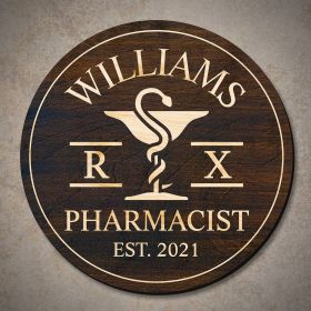 Mortar and Pestle Personalized Wood Sign Pharmacist Gift (Signature Series)