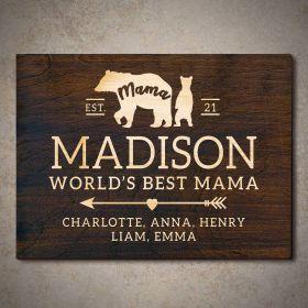 Mama Bear Custom Wooden Sign Mom Gift (Signature Series)