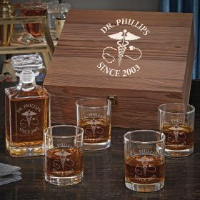 Caduceus Custom Carson Decanter Box Set Gifts for Doctors