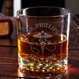 Caduceus Personalized Buckman Whiskey Glass Nurse Gift