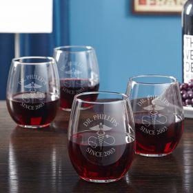 Caduceus Custom Set of 4 Wine Glasses Nurse Gifts
