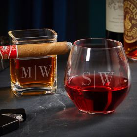 Quinton Engraved Wine and Cigar Glass Set Couple Gifts