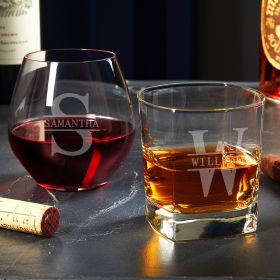 Oakmont Personalized Wine and Whiskey Glasses His and Her Gifts