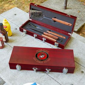 Marine Custom Grilling Tools Box Set US Marine Corps Gift