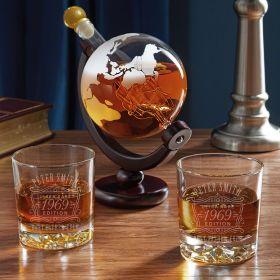 Ultra Rare Edition Personalized Fairbanks Globe Whiskey Decanter Set