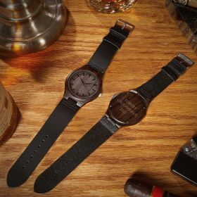 Personalized Wooden Watch with Leather Band
