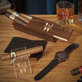 Oakmont Custom Whiskey and Cigar Gift Set with Watch