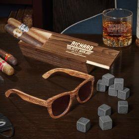 Maverick Buckman Glass with Slim Cigar Box Personalized Groomsman Gifts