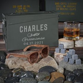 Classic Groomsman Engraved 30 Cal Whiskey Gifts for Groomsmen