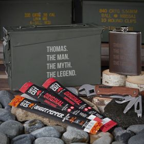 Man Myth Legend Engraved 30 Cal Ammo Can Set with Flask Best Gift Ideas for Men