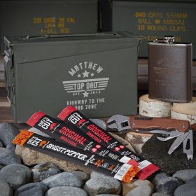 Top Dad Personalized 30 Cal Ammo Can Set of Gifts for Dad