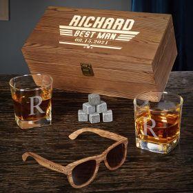 Maverick Custom Whiskey Groomsmen Gifts with Sunglasses