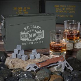 Marquee 30 Cal Ammo Can Whiskey Set Custom Gifts for Him