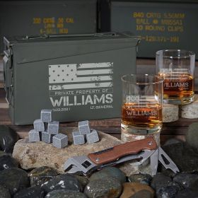 American Heroes 30 Cal Custom Whiskey Gifts for Guys