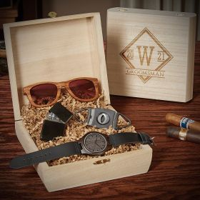 Drake Engraved Groomsmen Gift Box  With Watch And Sunglasses