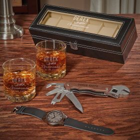 Classic Groomsman Personalized Buckman Glasses and Watch Set Unique Groomsmen Gifts