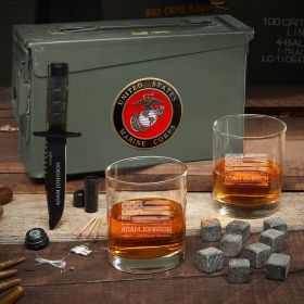 American Heroes Personalized 30 Cal Whiskey US Marine Corps Gift Set