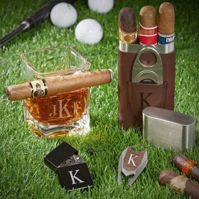 Classic Monogram Custom Whiskey and Cigar Gift Set