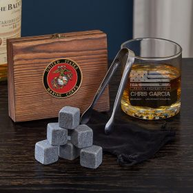 American Heroes Personalized Whiskey Stone Set of Marine Gifts