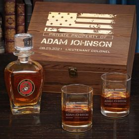 American Heroes Personalized Draper Decanter Set of Marine Gifts