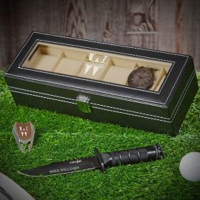 Oakmont Watch Box and Knife Set of Engraved Gift Ideas for Him