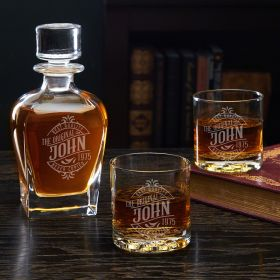 Maddux Engraved Draper Whiskey Decanter Set