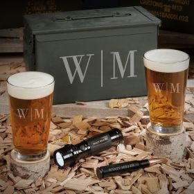 Quinton Monogrammed 50 Cal Ammo Can Set of Beer Lover Gifts with Flashlight