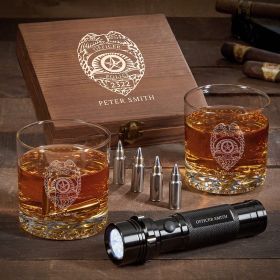 Police Badge Personalized Buckman Whiskey Police Gifts with Flashlight