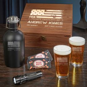 American Heroes Personalized Beer Box Set of Military Gifts