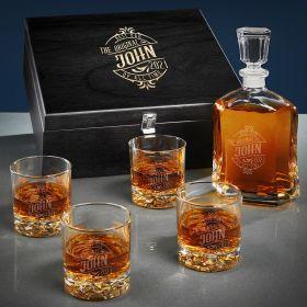 Maddux Engraved Argos Whiskey Decanter Set