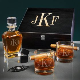 Classic Monogram Engraved Draper Decanter and Cigar Gift Basket