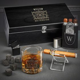 Ultra Rare Edition Personalized Buckman Whiskey and Cigar Gift Set