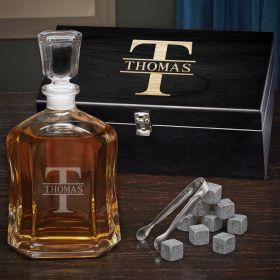 Oakmont Engraved Argos Whiskey Decanter Set