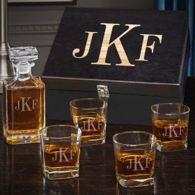 Classic Monogram Engraved Carson Decanter Whiskey Gift Set